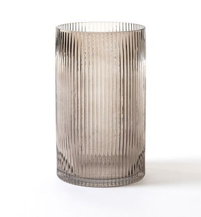 Glassvase groove gråbrun liten