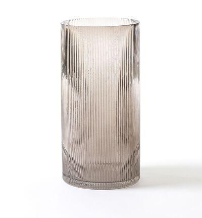 Glassvase groove gråbrun stor