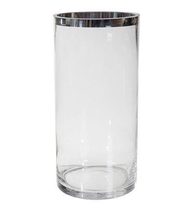 Glassvase med sølvkant L