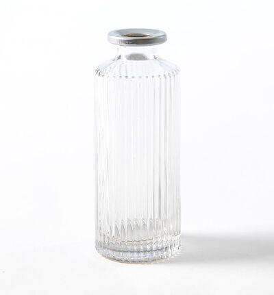 Dalebekken glassvase riller og sølkant