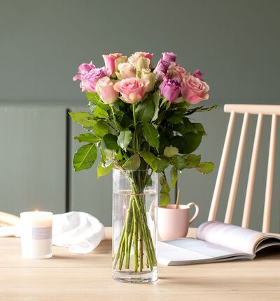15 Fairtrade Rosa sløyfe roser lilla/rosa