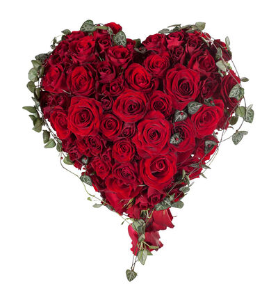 Rød brudebukett hjerte med roser