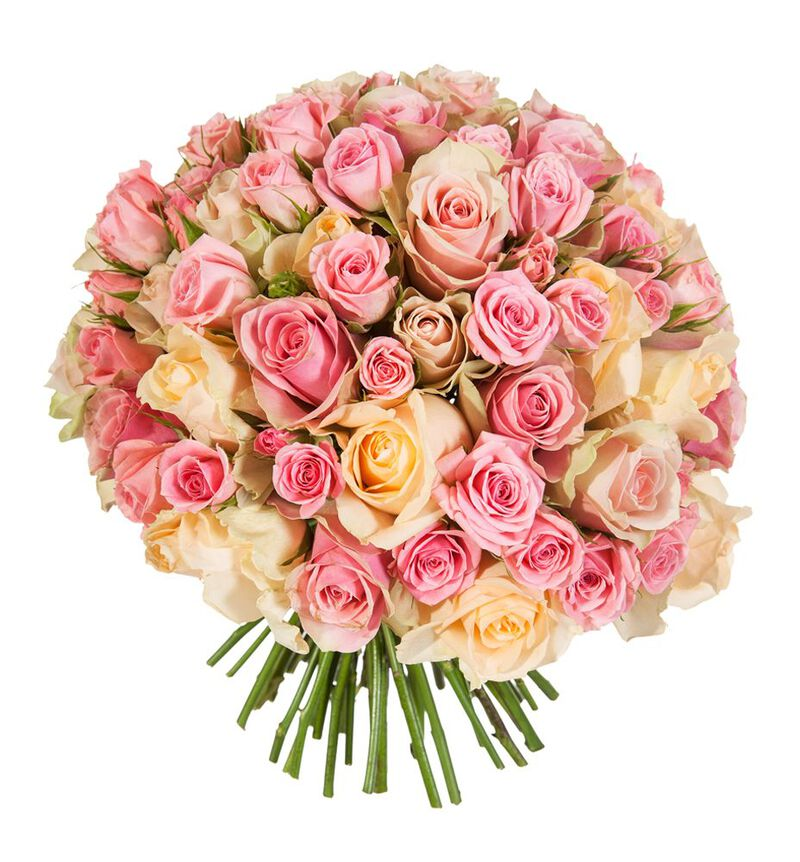 Klassisk brudebukett i fersken og rosa bildenummer 2