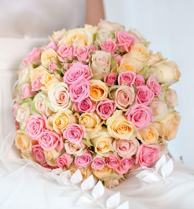 Klassisk brudebukett i fersken og rosa bildenummer 3