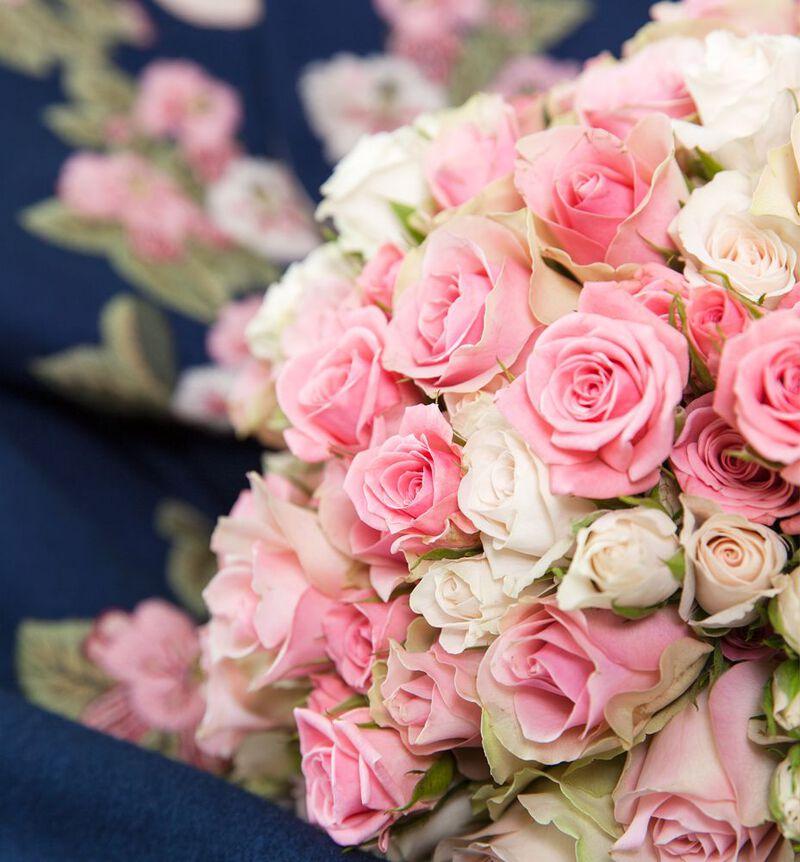 Klassisk brudebukett i fersken og rosa bildenummer 5