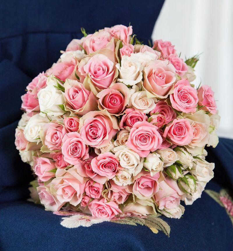 Klassisk brudebukett i fersken og rosa bildenummer 6