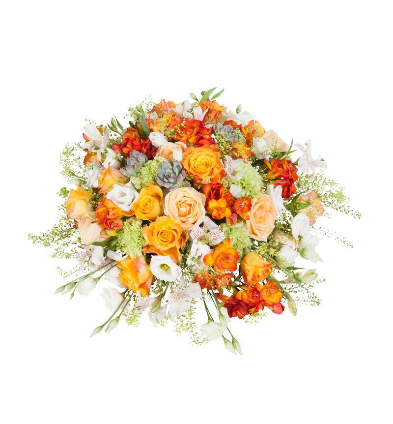 Rund borddekorasjon i hvitt og oransje bildenummer 1