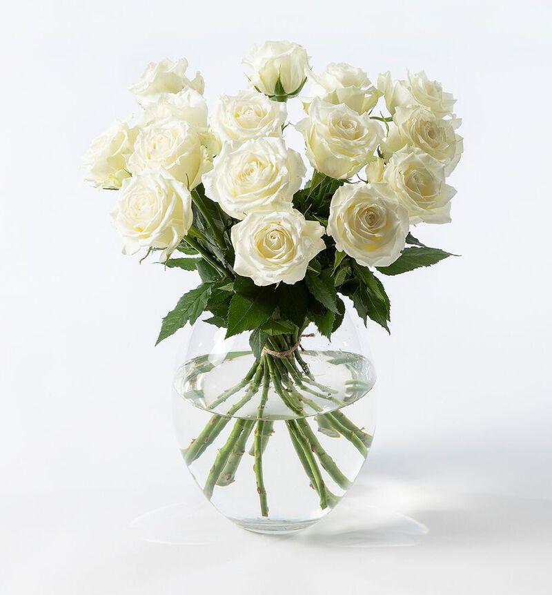 Hvite roser i gavepose med bobler og sjokolade bildenummer 2