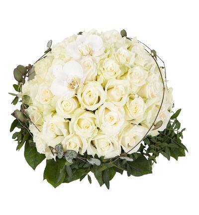 Hvit borddekorasjon med orkidé L