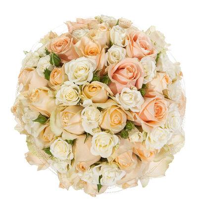 Fersken brudebukett med roser