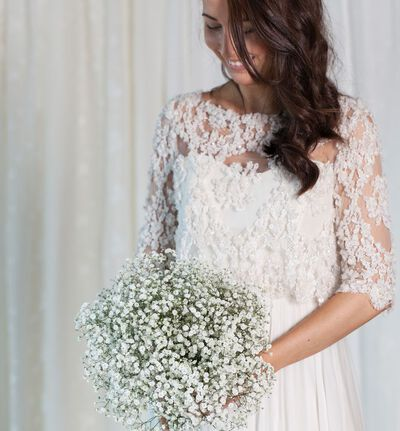 Romantisk brudebukett med slør