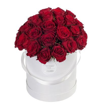Røde roser i gaveeske