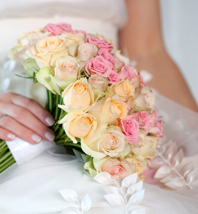 Liten Klassisk bryllupspakke i fersken og rosa