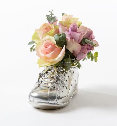 Rosa og lilla roser i babysko