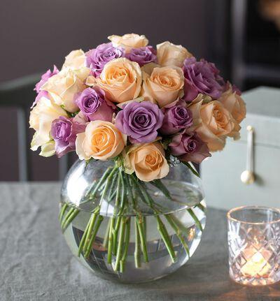 Babylykke lilla og fersken rosebukett