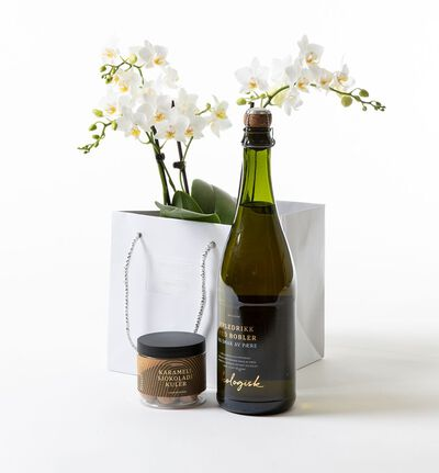 Hvit orkidè i gavepose med bobler