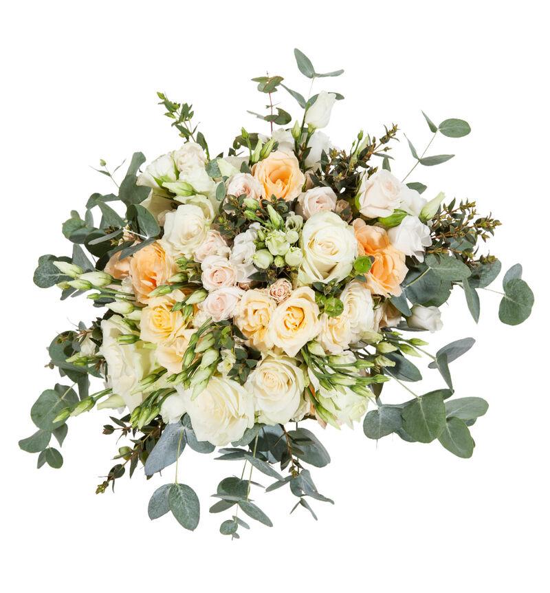 Romantisk brudebukett i fersken og hvitt bildenummer 1