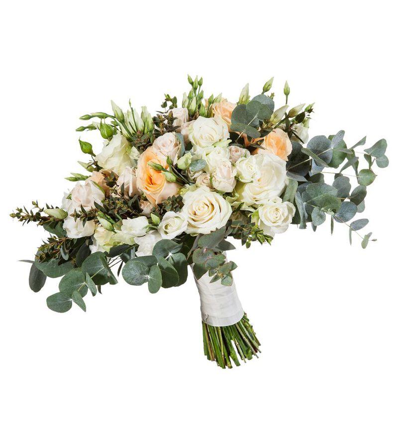 Romantisk brudebukett i fersken og hvitt bildenummer 2