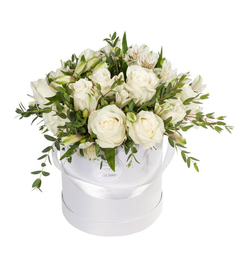 Hvit rosebukett i gaveeske bildenummer 1